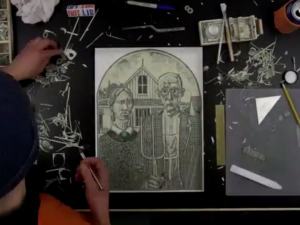 Mark Wagner dollar bill collage creation timelapse