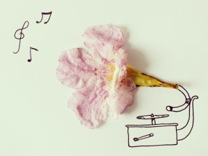 record player of a flower by Javier Perez