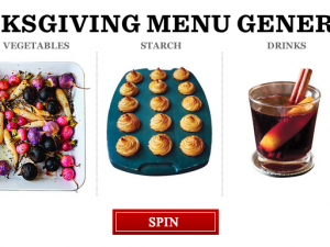 Thanksgiving menu generator from Saveur