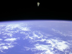 Bruce McCandless making the first untethered spacewalk