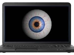 Internet surveillance eyeball in laptop