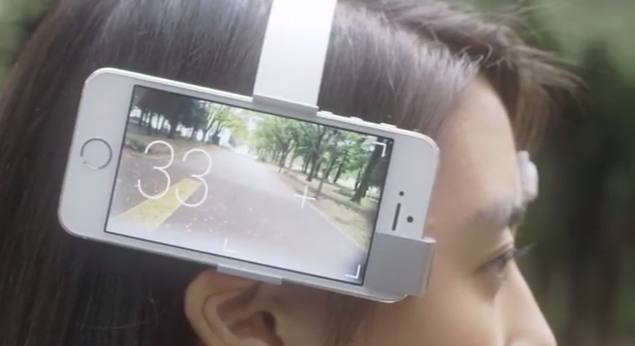 iphone strapped to head