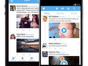 Twitter mobile interface with new swiping motion