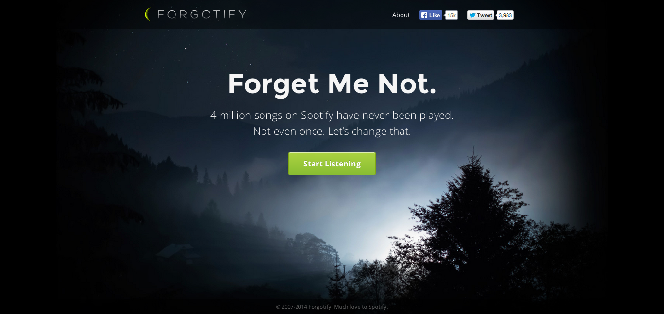 Forgetify landing page
