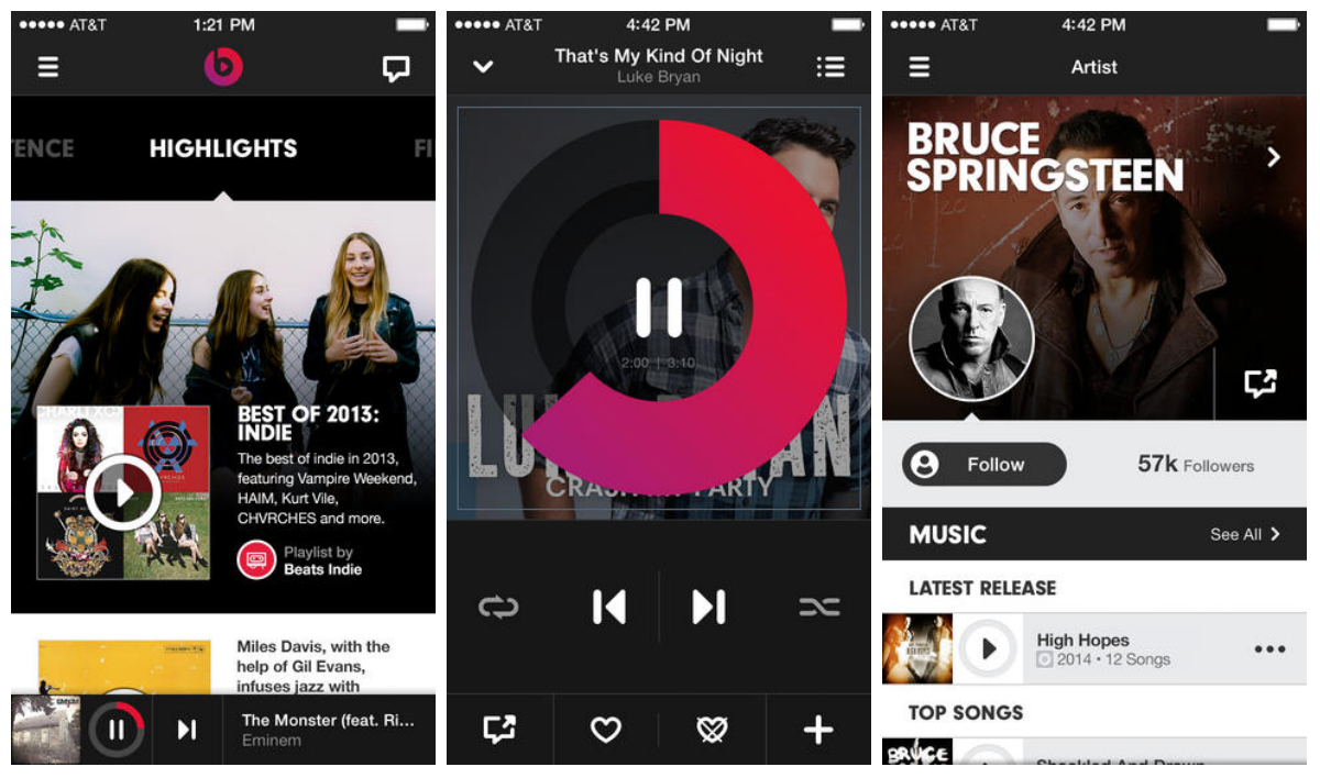 Screenshots of Beats Music iOS app