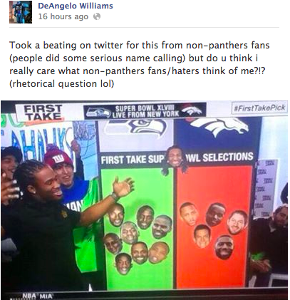 Screenshot of a Facebook post by DeAngelo Williams