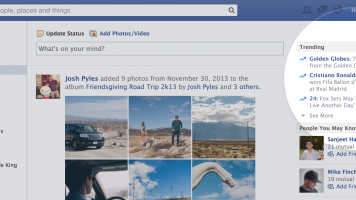 Screenshot of Facebook Trending feature