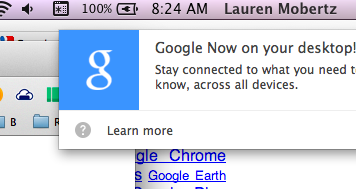 Google Now for desktop popup notification screenshot