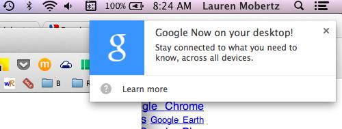 Google Now for desktop popup notification screenshot