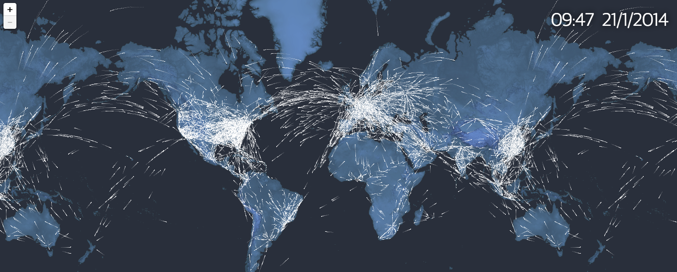 The Guardian's interactive map of current flights