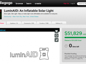 Screenshot of the LuminAID Indiegogo campaign
