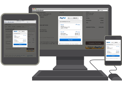 PayPal In-Context Checkout across desktop, tablet and mobile