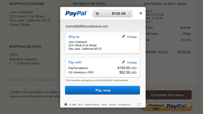 PayPal In-Context Checkout screenshot