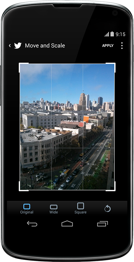 Making photo adjustments on Twitter for Android