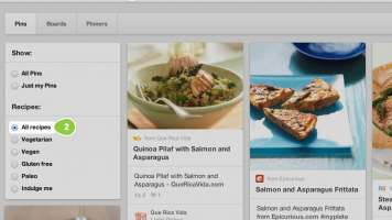 Pinterest Healthy recipe search screenshot