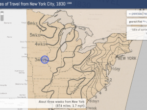 Rates of travel from New York map 1830