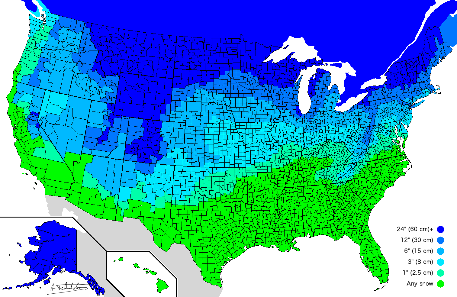 Map by county that shoes how much snow is required before schools will close