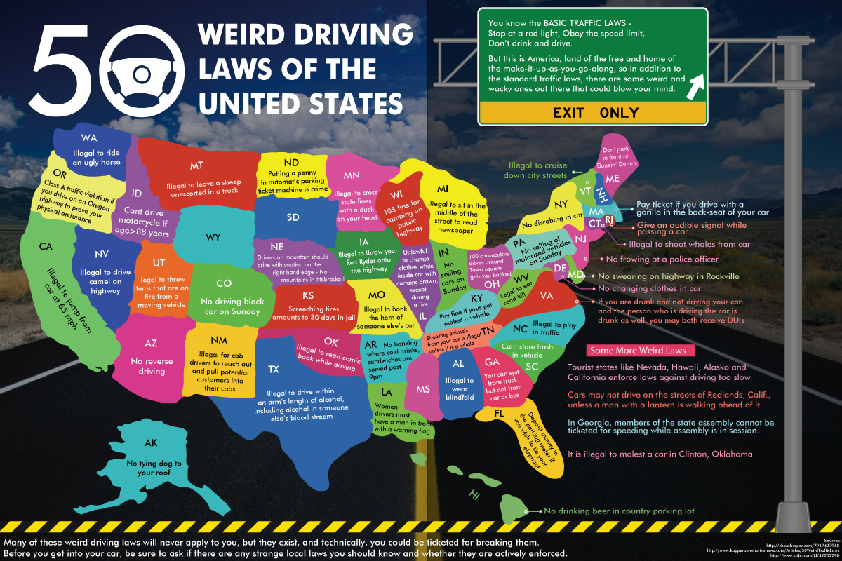 Map of weird driving laws in the united states