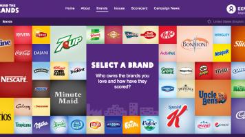 screenshot of Oxfam's behind the brands online tool