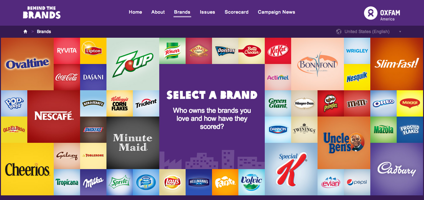 screenshot of Oxfam's behind the brands online tool