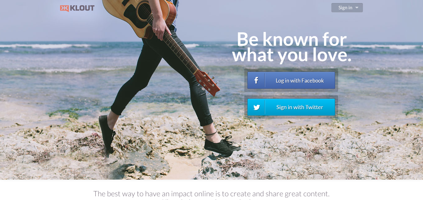 Klout landing page