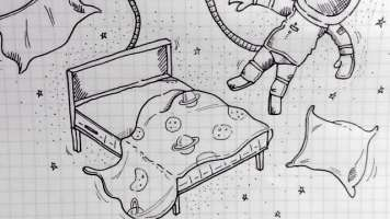 drawing of bed gravity keep an astronaut stuck to his bed