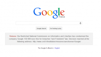 Google search French privacy warning