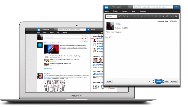 screenshot of linkedin's new publishing service for all members