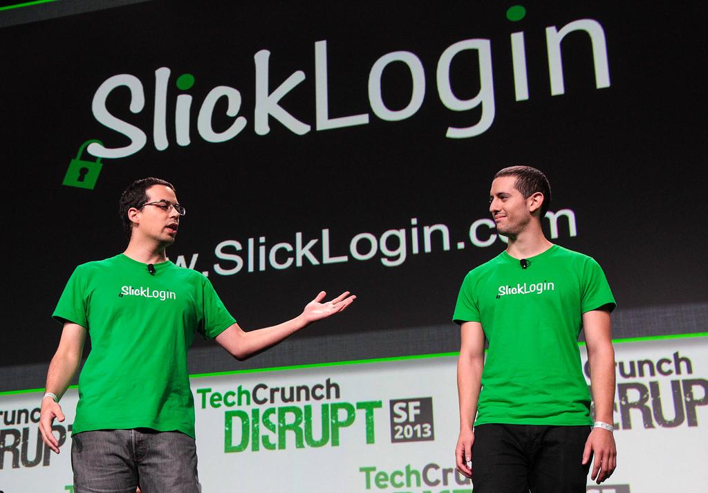 SlickLogin founders presenting at TechCrunch Disrupt