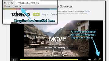 screenshot of vidcast chromecast bookmarklet for chrome