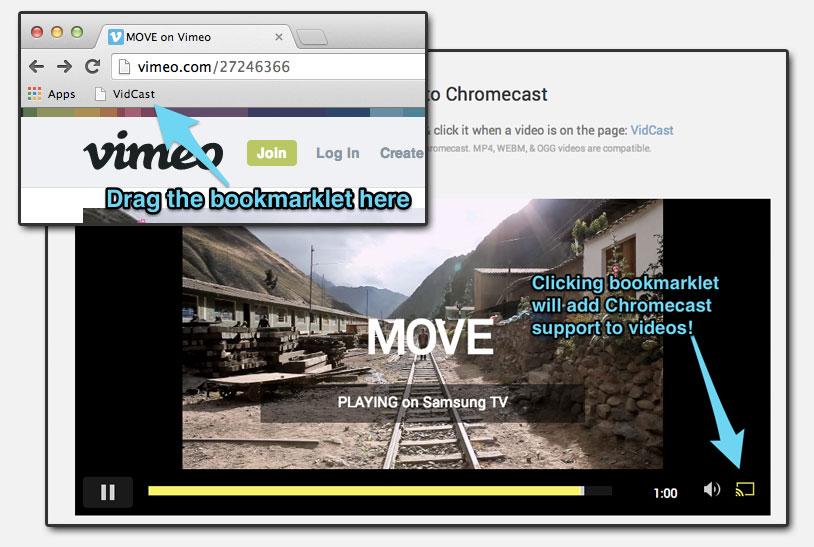 screenshot of vidcast chromecast bookmarklet for chrome