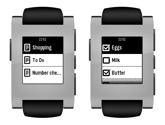 Pebble smartwatches displaying Evernote lists