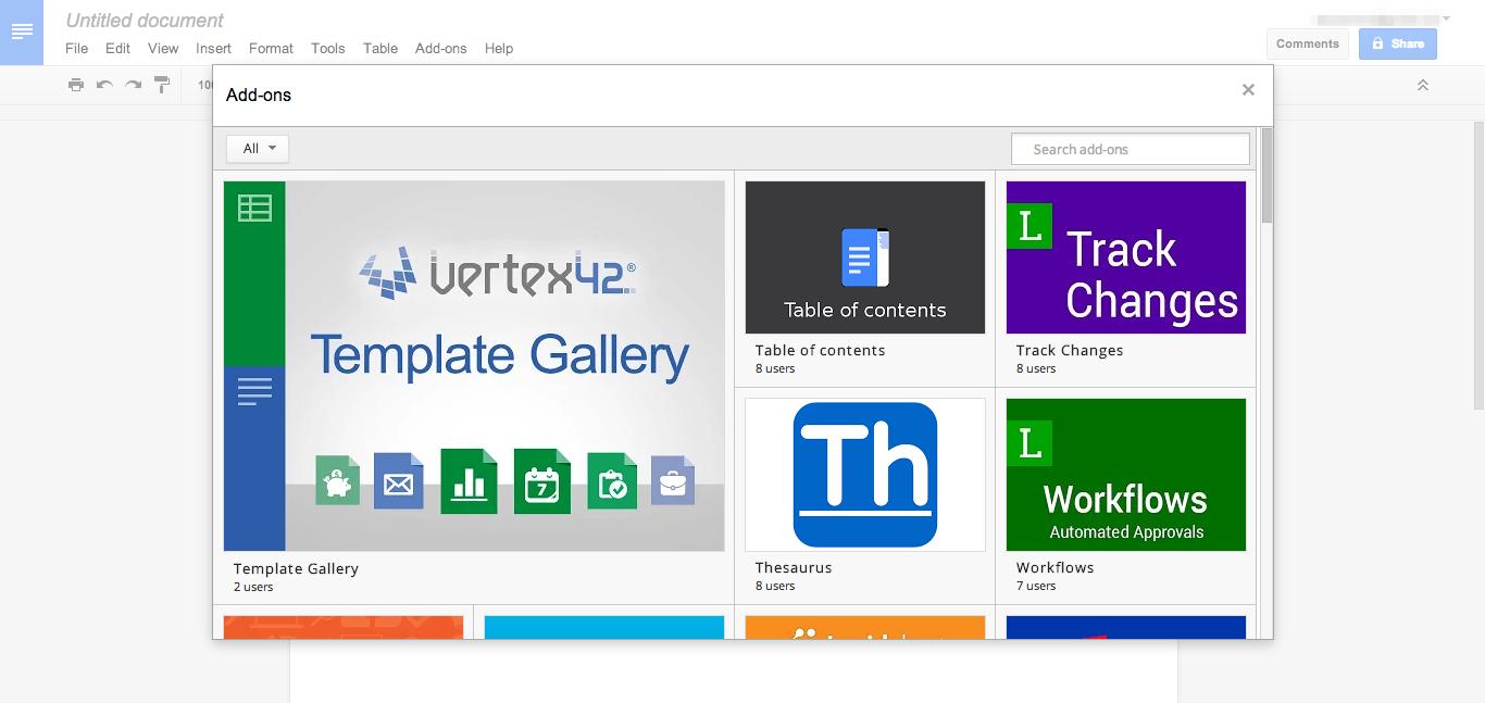 Google Docs add-ons screenshot