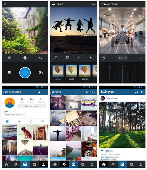 screenshots from the new instagram for Android
