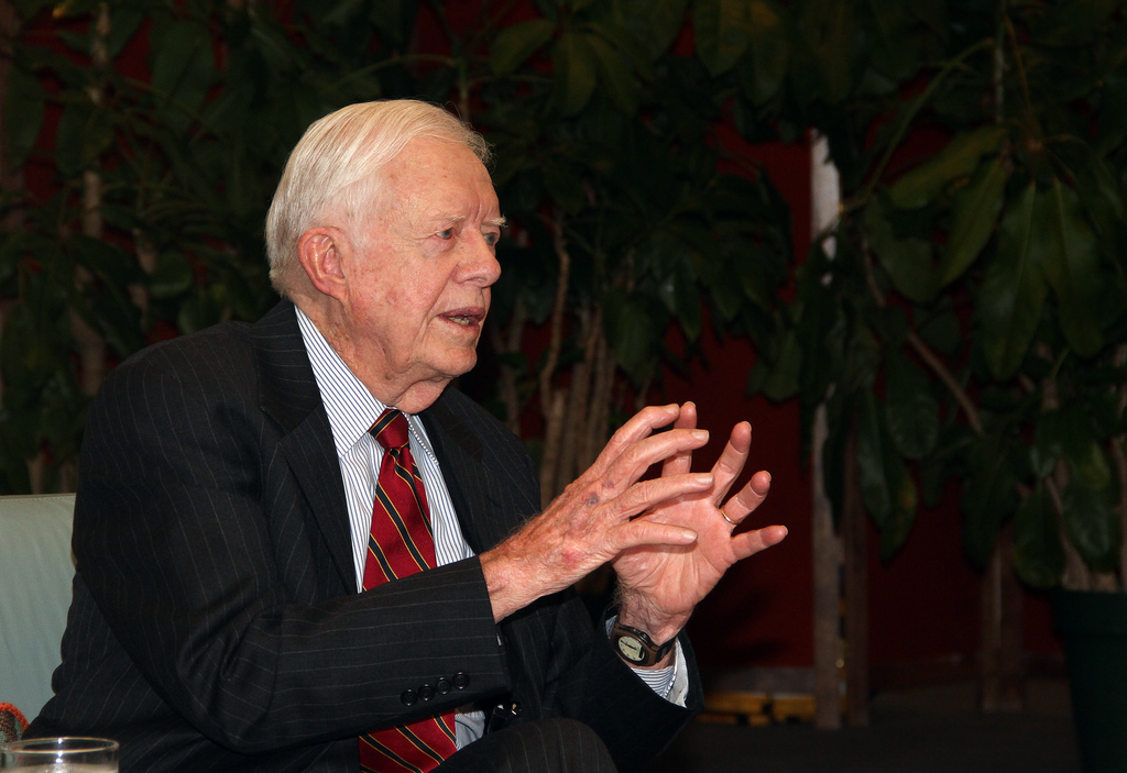 Jimmy Carter talks at the LBJ library in 2011