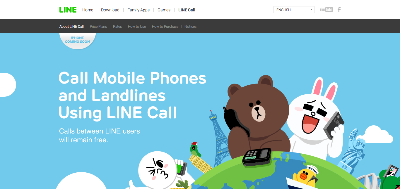 screenshot from the LINE call website