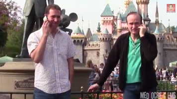 man at disneyland crashing cell phone conversations