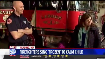 mom, little girl and firefighter after rescue