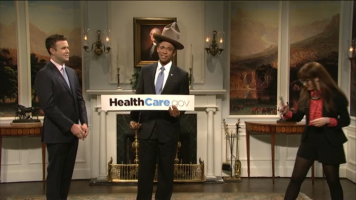 screencap from the obama healthcare snl skit