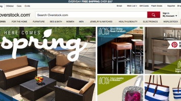screenshot of the overstock.com homepage