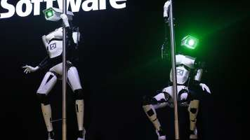 Tobit Software's pole dancing robots
