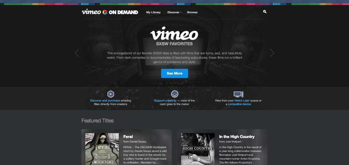 Vimeo On Demand landing page screenshot