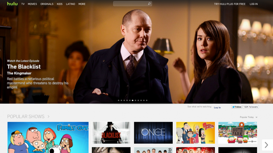 Hulu Online Video Streaming homepage