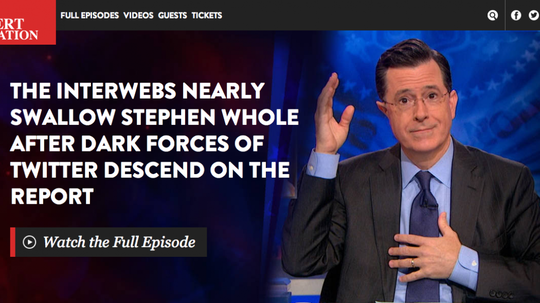 The Colbert Report March 31, response to #CancelColbert