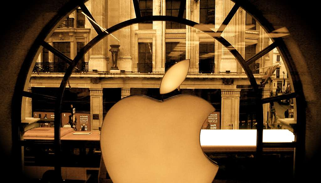 apple logo in london window