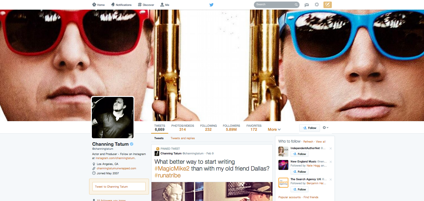 Channing Tatum's redesigned Twitter profile
