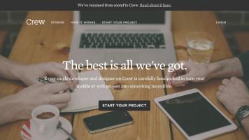 screenshot of ooomf's, now crew's new homepage