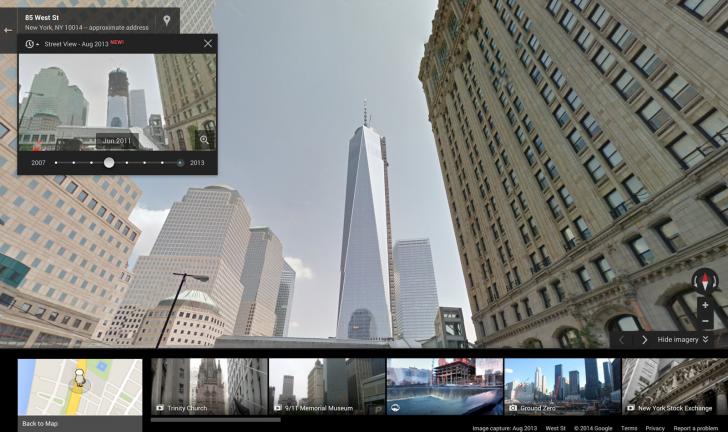 freedom tower google maps time travel