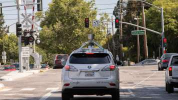 Google self-driving car on a city street