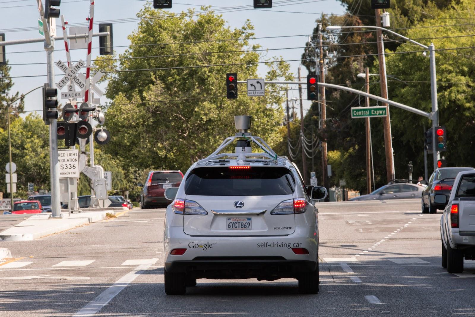 Google self-driving car on a city street